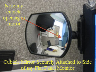 Computer mirror attached to monitor