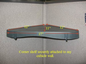 Corner Wall Shelf in Empty Cubicle