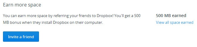 Dropbox - Earn more space