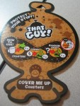 Front of Cover Me Up Coasters label