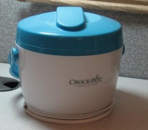 Crock-Pot on cubicle desktop