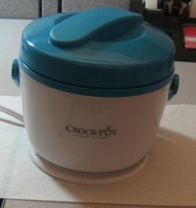 Crock-Pot after heating, ready to open