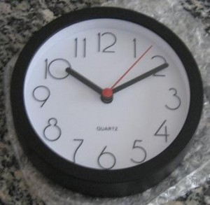 Cubicle clock out of wrapper.
