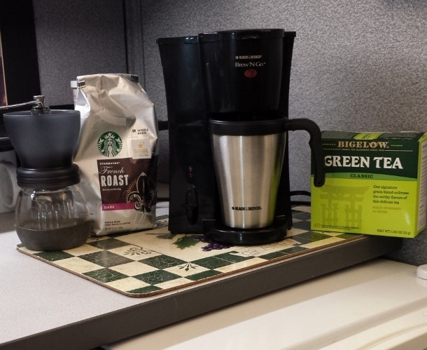 My Coffee and Tea Corner in my Office Cubicle