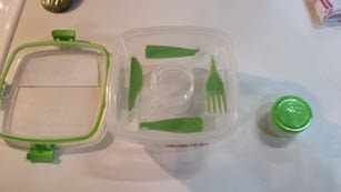 Salad dressing container removed