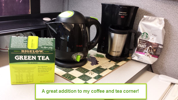T-fal 1 Liter Mini Electric Kettle in my office cubicle