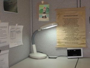 Sunlight Desk Lamp illuminating my cubicle!