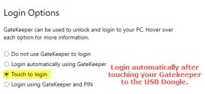 Login when touching key to USB Dongle.