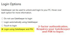 Login with PIN and GateKeeper
