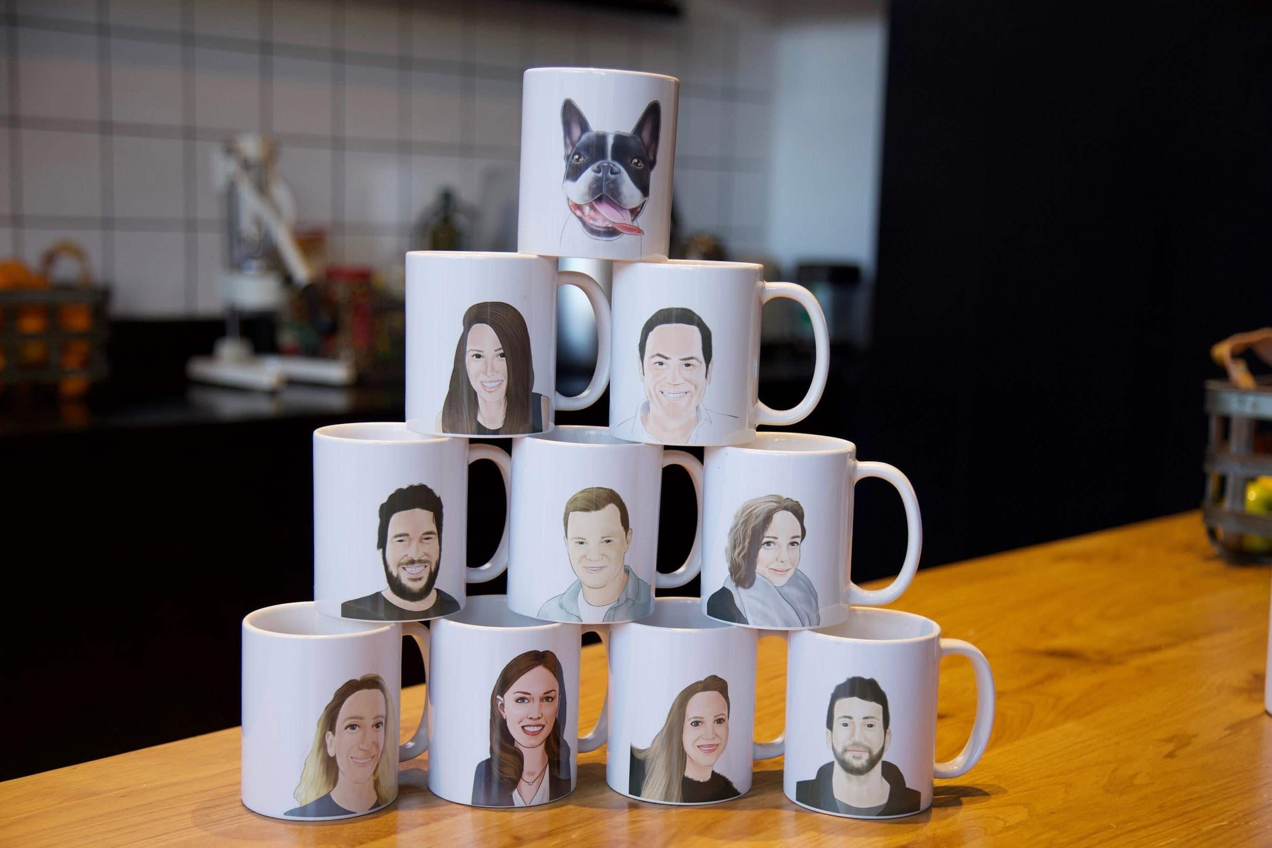 Pyramid of Employee Mugs